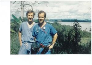 For 1992 Lambarene Fellows Stefan Kertesz and Saul J. Weiner (above, in Lambarene), Schweitzer-spirited service remains a mutual pursuit.