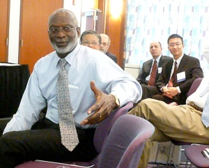 Former U.S. Surgeon General Dr. David Satcher answers an audience member's question at last Saturday's symposium on health disparities.