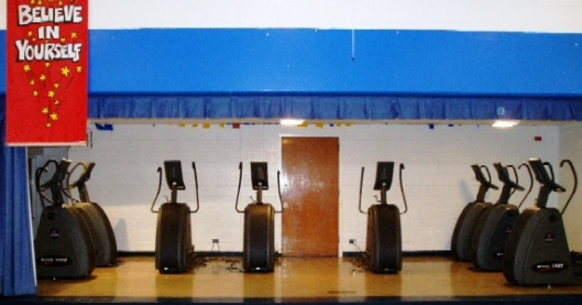 In an effort to stem childhood obesity, 2006-07 Schweitzer Fellow Karen Meyer established a fitness center (above) at King Elementary School.