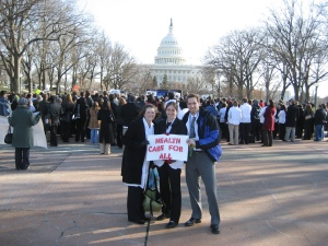 Salisbury (left) at a rally for health care reform.